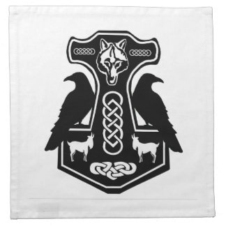 Pagan Thor's hammer with Raven Napkins