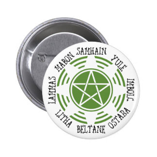 Pagan Wheel of the Year Pinback Button