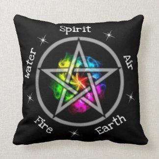 Pagan Wiccan Elemental Pentagram Throw Pillow