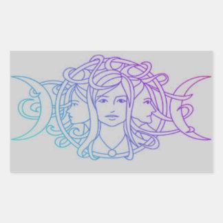 Pagan Wiccan Triple Moon Goddess Rectangular Sticker