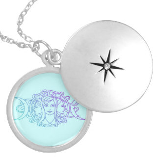 Pagan Wiccan Triple Moon Goddess Silver Plated Necklace