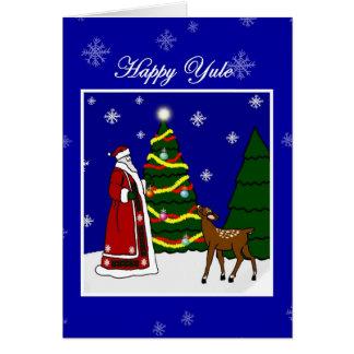 Pagan Winter Solstice Yule Santa, Tree and Deer Greeting Card