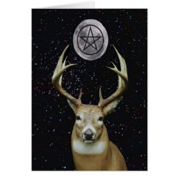 Pagan Yule Winter Solstice Stag, Moon and Pentacle Card