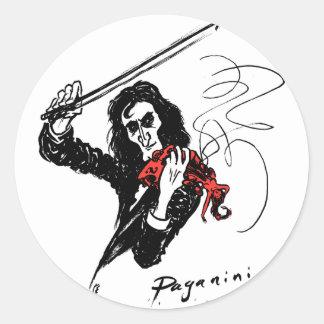 Paganini 300dpi b&w&red color3 pegatina redonda