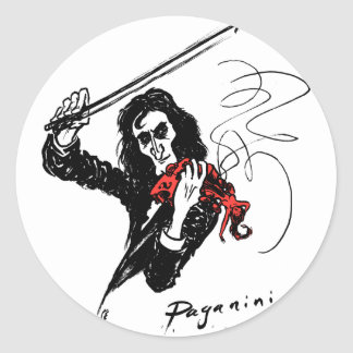 Paganini color3 b&w&red 300dpi classic round sticker