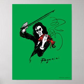 """Paganini con el poster 11"""" del violín x14 """""""