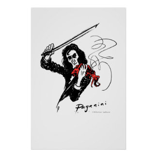 Paganini que toca el violín rojo posters