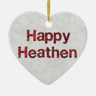 Pagano feliz adorno navideño de cerámica en forma de corazón