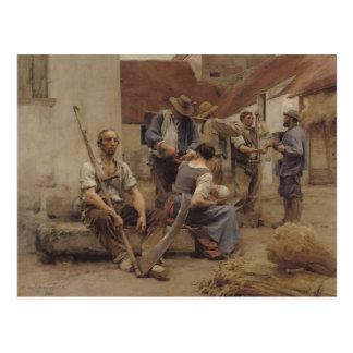 Pagar las máquinas segadores, 1882 tarjeta postal