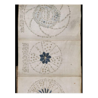 Page 68r of the Voynich manuscript. This three-pag Postcard