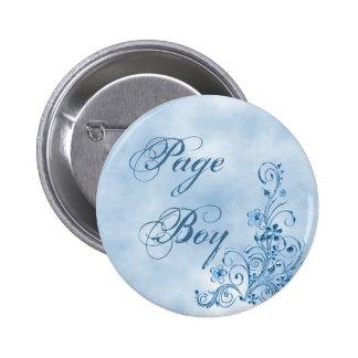 Page Boy Round Button: Sky Blue Elegance Pinback Button