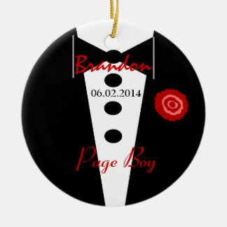 Page Boy Wedding Favor Custom Name Tux Ceramic Ornament