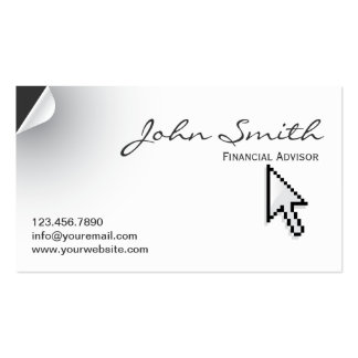 Page Curl Financial Advisor Business Card