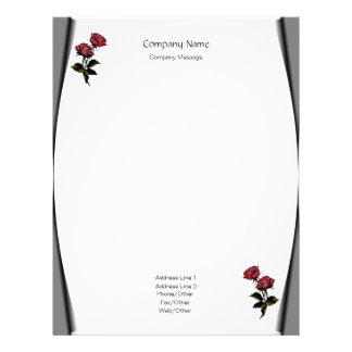 Page Curls Roses Stationery Letterhead