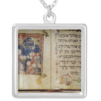 Page from a Haggadah Square Pendant Necklace