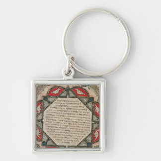 Page from a Hebrew Bible depicting fish Keychain