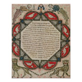 Page from a Hebrew Bible depicting fish Poster