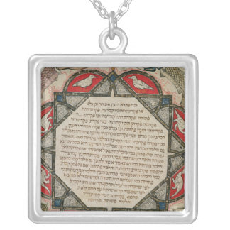 Page from a Hebrew Bible depicting fish Square Pendant Necklace
