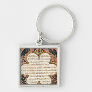 Page from a Hebrew Bible with birds, 1299 Keychain