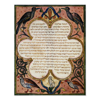 Page from a Hebrew Bible with birds, 1299 Poster
