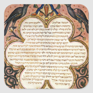 Page from a Hebrew Bible with birds, 1299 Square Sticker