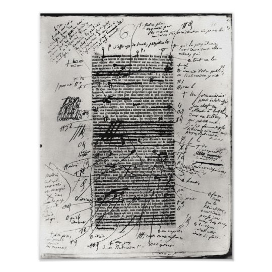 Page from one of Balzac's works Poster