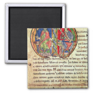 Page from the Charter Kelso Abbey with 2 Inch Square Magnet