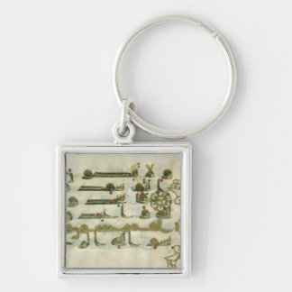 Page from the Koran, from Tunisia Silver-Colored Square Keychain