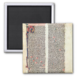 Page from the 'Somme de Theologie' 2 Inch Square Magnet