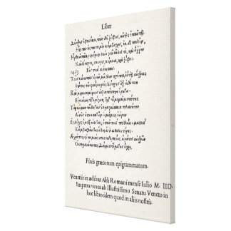 Page of Greek Epigrams by Angelo Poliziano, 1498 Canvas Print