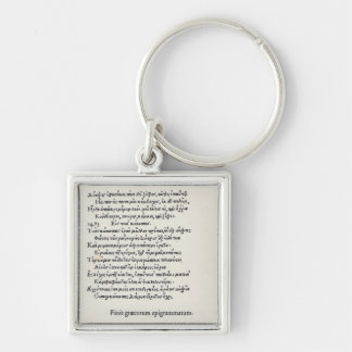 Page of Greek Epigrams by Angelo Poliziano, 1498 Keychain