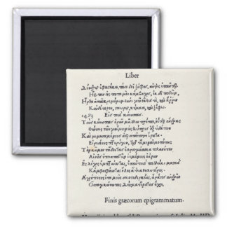 Page of Greek Epigrams by Angelo Poliziano, 1498 2 Inch Square Magnet