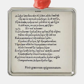 Page of Greek Epigrams by Angelo Poliziano, 1498 Metal Ornament