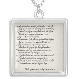 Page of Greek Epigrams by Angelo Poliziano, 1498 Square Pendant Necklace