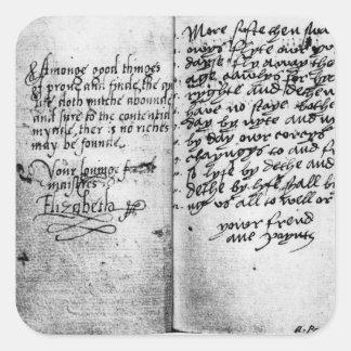 Page of manuscript square sticker