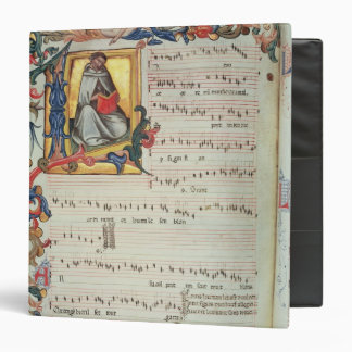 Page of musical notation with a historiated binder