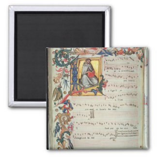 Page of musical notation with a historiated magnet