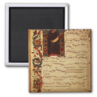 Page of Musical Notation with historiated 2 Inch Square Magnet