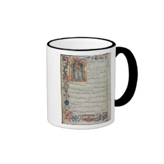 Page of musical notation with historiated ringer coffee mug