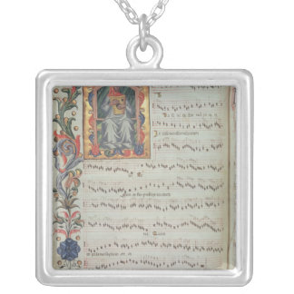 Page of musical notation with historiated pendant