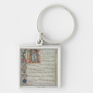 Page of musical notation with historiated Silver-Colored square keychain