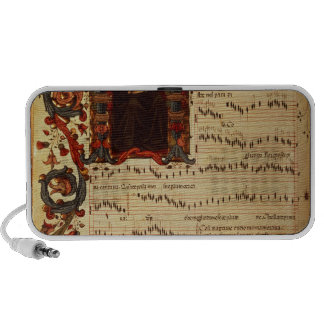 Page of Musical Notation with historiated Travel Speaker