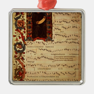 Page of Musical Notation with historiated Square Metal Christmas Ornament
