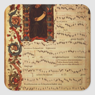 Page of Musical Notation with historiated Square Sticker