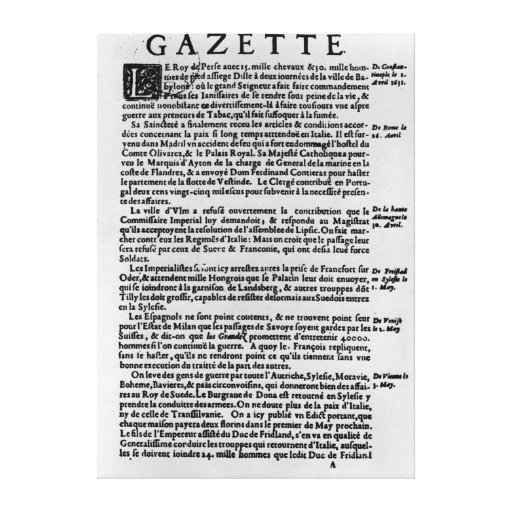 Page of text from 'La Gazette' Stretched Canvas Print