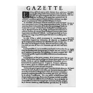 Page of text from 'La Gazette' Canvas Print