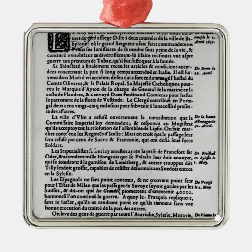 Page of text from 'La Gazette' Metal Ornament