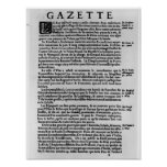 Page of text from 'La Gazette' Poster