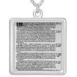 Page of text from 'La Gazette' Square Pendant Necklace