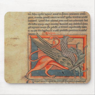 Page of text with an illustration of a griffin mouse pad